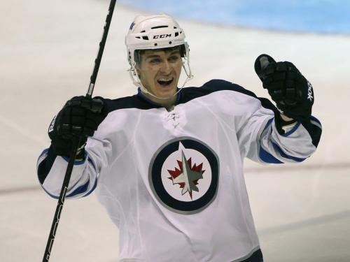 Winnipeg Jets Mark Scheifele celebrates his  third period goal against  Columbus Blue Jackets during  NHL preseason hockey in Winnipeg Tuesday –The city of Winnipeg welcomed the   NHL back to the city after a 15 year drought since 1996 when the team relocated to Phoenix - See Ed Tait's story – Sept 20, 2011   (JOE BRYKSA / WINNIPEG FREE PRESS)