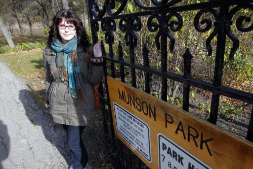 Angela Sylvester in her favorite place, Munson Park.   Oct. 20, 2011 (BORIS MINKEVICH / WINNIPEG FREE PRESS)