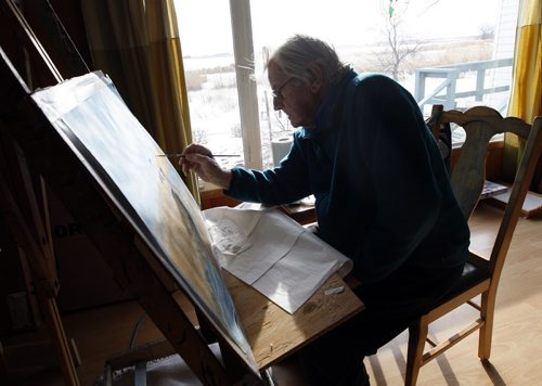 Delta Beach - Delta Marsh artist  91 year old  Peter Ward  has been  put out of his  house  by Assiniboine River / Lake Manitoba flooding  continues to  go out to his  home and paint for a few hours each day .He lives in a rented house in a Portage la Prairie  - Bill Redekop Story -  - KEN GIGLIOTTI /  WINNIPEG FREE PRESS /  Nov. 30  2011