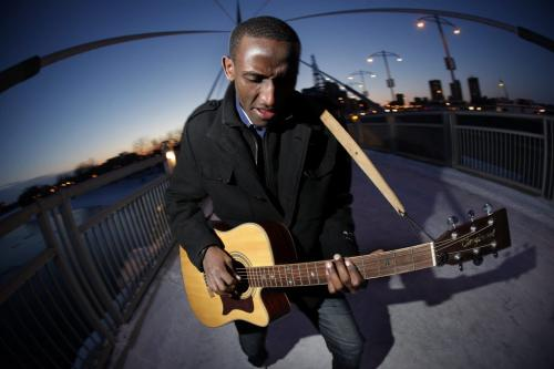 January 16, 2012 - 120116  -  Gentil Misigaro, who immigrated from the Democratic Republic of Congo last year, performs on the Riel Promenade Monday January 16, 2012.    John Woods / Winnipeg Free Press  ***For Africa edition***
