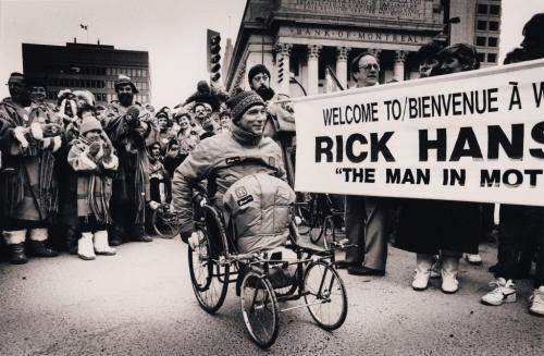 Jeff De Booy / Winnipeg Free Press Archives January 18, 1987 Rick Hansen gets a warm reception on the cold Winnipeg corner of Portage and Main Sunday afternoon. Hansen was later met by about 4,000 supporters at the Winnipeg Convention Centre.