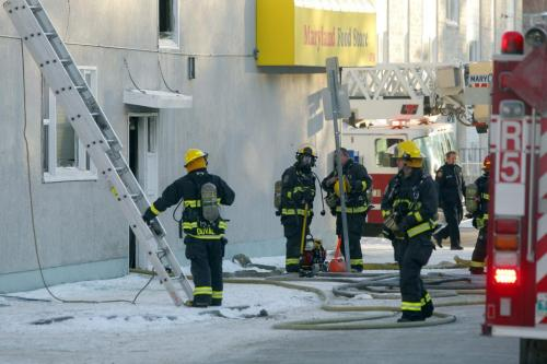 Fire scene at Maryland and Wellington. Apartment above the Maryland Food Store. January 25, 2012 BORIS MINKEVICH / WINNIPEG FREE PRESS