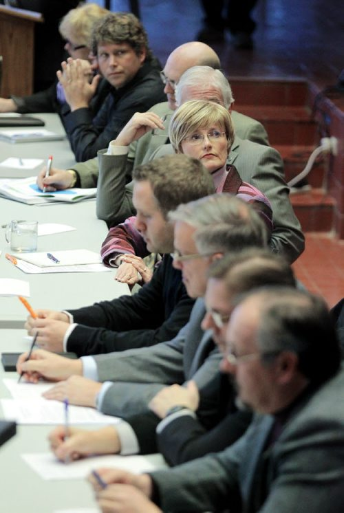 Brandon Sun Mayor Shari Decter Hirst and city councillors attend a public forum on the city's proposed budget, Monday evening at city hall. (Colin Corneau/Brandon Sun)