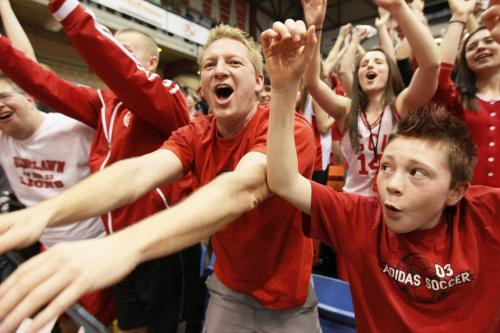 March 19, 2012 - 120319  -  Glenlawn  fans celebrate. Glenlawn Lions win the 2012 AAAA High School Basketball championship over the Oak PArk Raiders Monday March 19, 2012.    John Woods / Winnipeg Free Press