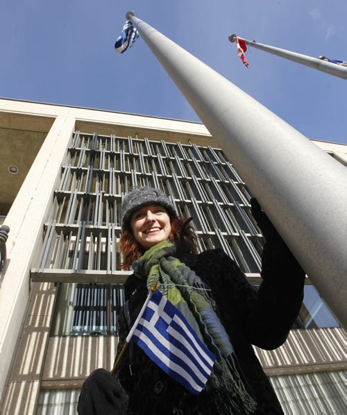 The Greek flag was raised at City Hall Monday morning after Greek Community Vice President Maria Mitousis said a few words to a small group on hand to observe Greek Independence Day.¤ The Greek Revolution is commemorated on 25 March every year to mark the start of the war of independence.  .see release .   (WAYNE GLOWACKI/WINNIPEG FREE PRESS)  Winnipeg Free Press  March 26 2012