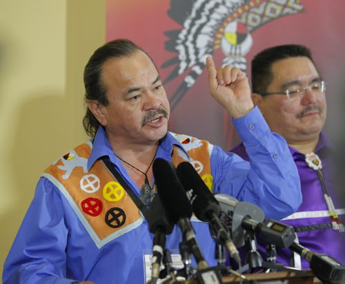 Press conference for flood compensation cases , re: Fist Nations. Grand Chief Morris J. Shannacappo, Southern Chief Office speaks to media. In behind him is Peguis chief Glenn Hudson. May 1st, 2012  BORIS MINKEVICH / WINNIPEG FREE PRESS