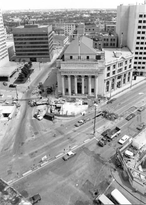 Wayne Glowacki / Winnipeg Free Press Archives Portage Avenue and Main Street May 30, 1978 PortageMain City crews begin street pavement reconstruction Monday in the Portage Avenue and Main Street area. Work includes putting in new pavement, replacing existing sidewalks with interlocking paving stone walks and upgrading of street lighting on Main Street from Graham Avenue to Lombard Avenue and on Portage Avenue from Fort Street to about 150 feet east of Main, During this first stage of the project, two-way traffic on Main is confined to the west side and Portage Avenue East is closed. The reconstruction work is expected to be completed in 14 weeks.