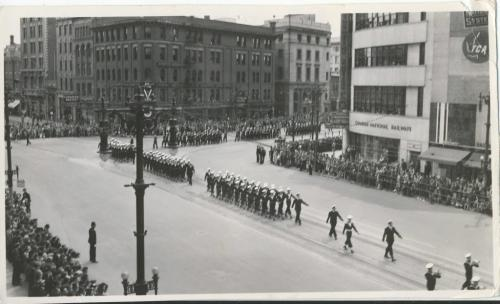Winnipeg Free Press Archives Wartime Winnipeg (04) May 23, 1944 Army Day Parade on street car streetcar rails, Main Street heading north from Portage Avenue. fparchive