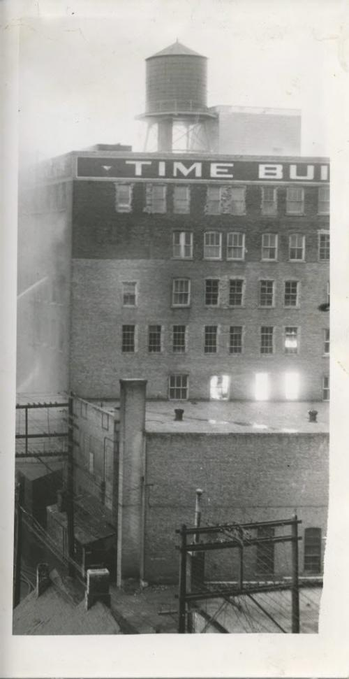 Winnipeg Free Press Archives Time Building Fire (1)  June 8, 1954 Firemen had arrived at 1 a.m., warned by an automatic alarm ... the fire, stubborn but confined for hours , fin- ally broke loose, fanned by the gale ...by 5 a.m. the Time building glowed with flame ... suddenly just after 6 a.m. the east wall fell spreading the fire to the Dismorr block across Hargrave street. . . within minutes the front wall of the Time building fell... by 8 a.m. the Dismorr building, too, was lost . . .  fparchive
