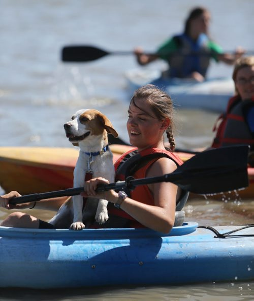 Tabitha Morran, 19, and her service dog, Cooper, set out to row from the boat launch at Maple Grove Park to The Forks, Monday, August 6, 2012. Tabitha had a stroke 5 days after being born and Cooper alerts those around if she has had a seizure of if her heart rate has dropped. (TREVOR HAGAN/WINNIPEG FREE PRESS)