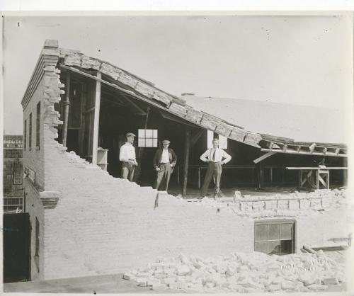 L.B. FOOTE Winnipeg Free Press Archives  Winnipeg storm  (2) June 17, 1919 Winnipeg scenes following wind storm   FURTHER EVIDENCE OF VELOCITY OF WIND The roof and south wall of the Auto Painting Co.'s warehouse on Wall street, as photographed by specia| Free Press man on Sunday. fparchive