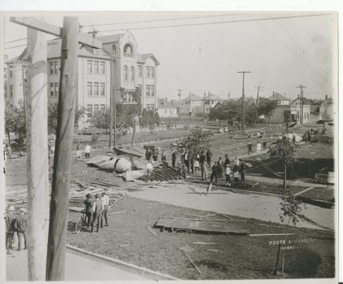 L.B. FOOTE/Winnipeg Free Press Archives Winnipeg storm  (8) June 17, 1919 Winnipeg scenes following wind storm  SHOWS HOW DEBRIS ACCUMULATES General View of Strathcona School, looking northwest. fparchive
