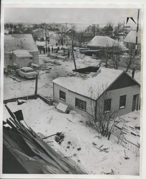 Winnipeg Free Press Archives St. James-air-crash Feb. 18. 1957 Closer view of the flight path of the Mitchell Bomber