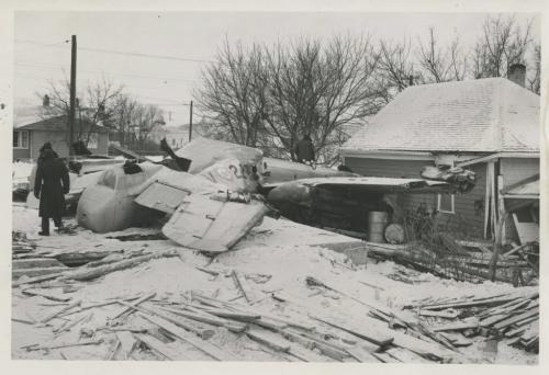 Winnipeg Free Press Archives St. James-air-crash Feb. 18. 1957 Mitchell Bomber