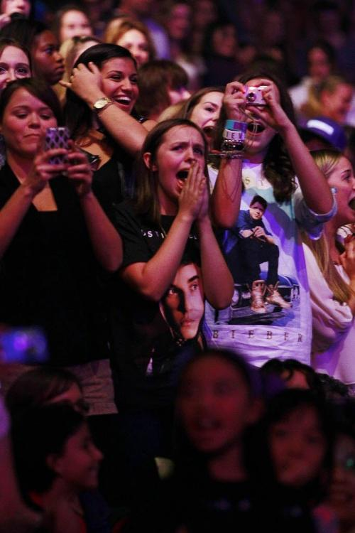 October 18, 2012 - 121017  -  Fans get excited as Justin Bieber performs at the MTS Centre Thursday October 18, 2012.  John Woods / Winnipeg Free Press
