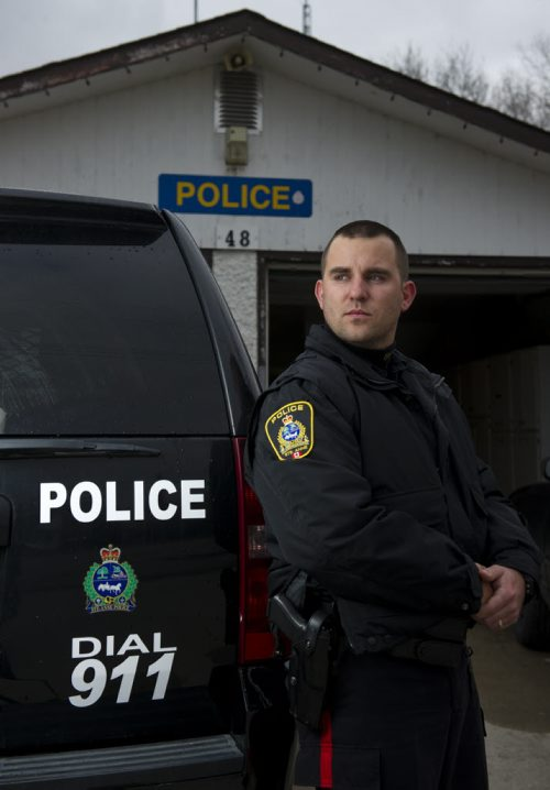 121026 Sainte-Anne - Sainte-Anne Police Officer Jordan Taman (age 27) portrait in Sainte-Anne, MB Friday October 26, 2012. Taman's mother, Crystal Taman was killed in 2005 when an off-duty city police officer rammed her car from behind. DAVID LIPNOWSKI / WINNIPEG FREE PRESS