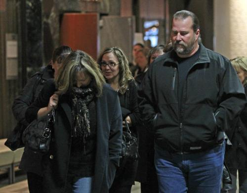 Laura Forrest, intake worker (in centre with glasses) testified at the Phoenix Sinclair inquiry Wednesday leaves for lunch break along with former supervisor Andy Orobko at right and others.  Carol Sanders/ Lindor Reynolds stories (WAYNE GLOWACKI/WINNIPEG FREE PRESS) Winnipeg Free Press  Nov. 21   2012