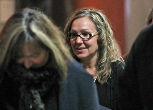 At right, Laura Forrest, intake worker testified at the Phoenix Sinclair inquiry leaves at lunch break Wednesday.  Carol Sanders/ Lindor Reynolds stories (WAYNE GLOWACKI/WINNIPEG FREE PRESS) Winnipeg Free Press  Nov. 21   2012