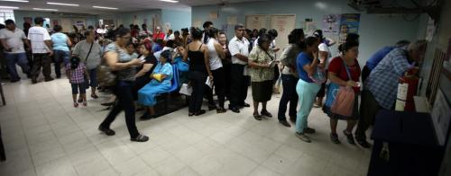 Patients line up in droves for a day clinic at Managua's Hospital Escuelda, Dr. Roberto Caulderon Gutierrez, a public teaching hospital where care is provided by the governmet. Phil Hossack / Winnipeg Free Press October 25, 2012