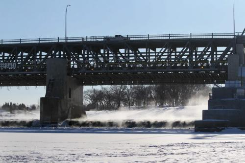 The driver of a truck is alive after he drove his truck into open water at Lockport locks early Tuesday morning.  The driver drove his truck to the in the open water between left hand pillar and right end wall on right. Dec 11, 2012, Ruth Bonneville  (Ruth Bonneville /  Winnipeg Free Press)