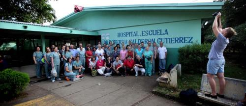 """THE WHOLE TEAM  Winnipeg's team """"Op-Walk"""" gathers for a portrait in front of Managua's Hospital Escuela, Dr. Roberto Caulderon Gutierrez, a public teaching hospital where care is provided by the governmet. Phil Hossack / Winnipeg Free Press October 25, 2012"""