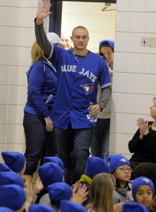 Ecole Van Walleghem School in Linden Woods were visited Toronto Blue Jays Brett Cecil this morning. The Blue Jays' winter caravan picked the school at random. January 7, 2013  BORIS MINKEVICH / WINNIPEG FREE PRESS