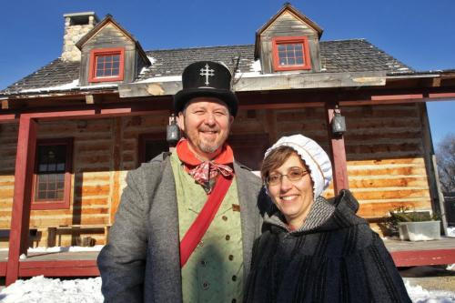 Members of the official Festival du Voyageur family Daniel St. Vincent and Jocelyne Gagnon outside the main building in Fort Gibraltar during the programming announcement for the 2013 Festival du Voyageur.  130115 January 15, 2013 Mike Deal / Winnipeg Free Press