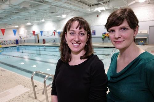 Olympians Rhiannon Leier Blacher (left) and Michelle Lischinsky Huber (right) at the Margaret Grant Pool have sent a letter to the mayor warning that Sherbrook Pool will not be the only facility at-risk of closing if Winnipeg does not properly maintain its pools. 130122 January 22, 2013 Mike Deal / Winnipeg Free Press