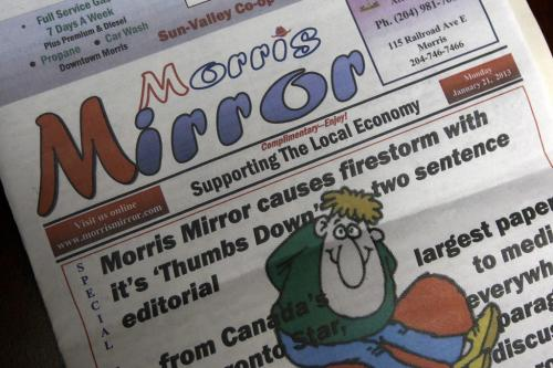 Later issue of  the Morris Mirror is full of letters to the editor supporting the Morris Mirror decision to run controversial editorial --See Lindor Reynold's FYI story on the Morris Mirror- January 23, 2013   (JOE BRYKSA / WINNIPEG FREE PRESS)