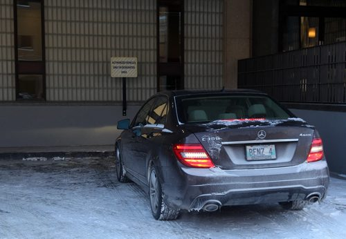 Winnipeg's chief administrative officer Phil Sheegl car parked in loading bay area of the administration tower in the City Hall complex-See Jen Skerritt story- January 31, 2013   (JOE BRYKSA / WINNIPEG FREE PRESS)