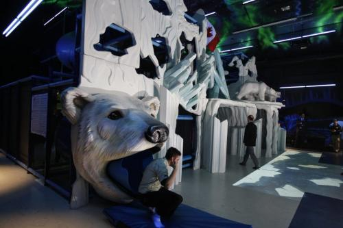 Bran Adams  ( Bran is correct) slides down Polar Bear slide  in play area- Assiniboine Park Conservancy  opens one-of-a kind Arctic themed indoor play area , restaurant , and gift shop , the Tundra Grill , Polar Playground  and Arctic Treasures Gift Shop  will form  an integral part of the Journey to Churchill Polar Baer exhibit  to open 2014 KEN GIGLIOTTI / FEB 1 2013 / WINNIPEG FREE PRESS