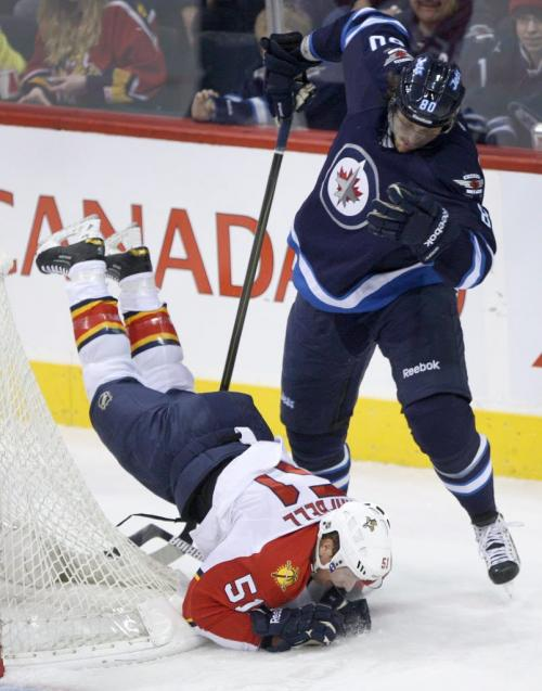 Winnipeg Jets Nik Antropov upends  Florida Panthers Brian Campbell during first period NHL action at the MTS Centre in Winnipeg Tuesday night -See Ed Tait, Tim Campbell stories- February 05, 2013   (JOE BRYKSA / WINNIPEG FREE PRESS)