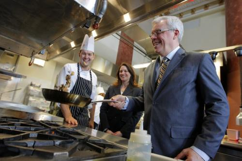 Red River College School of Hospitality and Culinary Arts grand opening. Instructor Luc Jean and Erin Selby, Minister of Advanced Education and Literacy/responsible for International Education, watch Manitoba Premier Greg Selinger flip some mushrooms at the new facilities on Main Street. Feb 21, 2013  BORIS MINKEVICH / WINNIPEG FREE PRESS