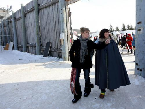MP Shelly Glover and Ginette Lavack Walters, Executive Director of the Festival du Voyageur, walking through Fort Gibraltar after Glover announced funding, Sunday, February 24, 2013. (TREVOR HAGAN/WINNIPEG FREE PRESS)