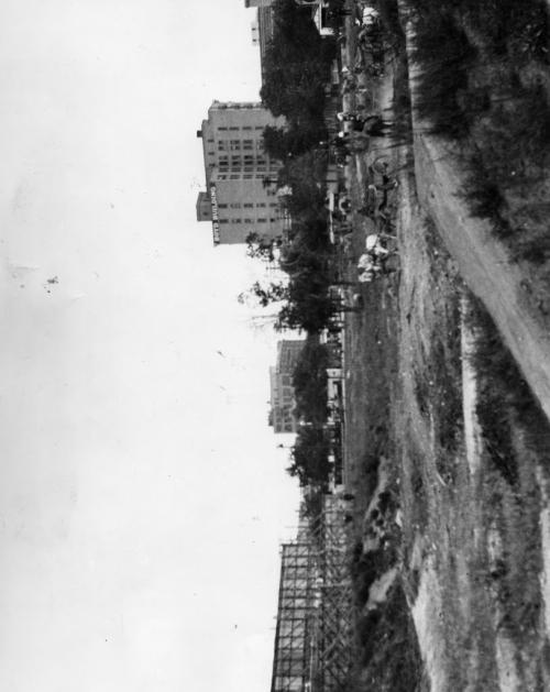 Excavation begins in September, 1925, for the Hudson's Bay Company's downtown store. On the skyline are the Free Press and Boyd Buildings. Winnipeg Free Press Archives