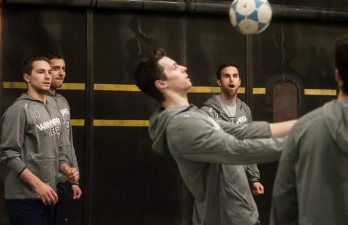 Alex Bumistrov (far left, Ondrej Pavelec and Andrew Ladd watch as James Wright controls the ball during a warm up of soccer two-touch before the Jets played the Florida Panthers at MTS Centre, Feb. 5, 2013