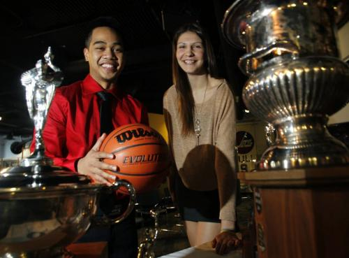 """Josh Magpantay with the Garden City Fighting Gophers and Emily Potter with the Glenlawn Lions were two of the players at the 2013 Milk 'AAAA'High School Basketball Championships """"Final Four"""" news conference Tuesday.  Melissa Martin STORY(WAYNE GLOWACKI/WINNIPEG FREE PRESS) Winnipeg Free Press March 12 2013"""