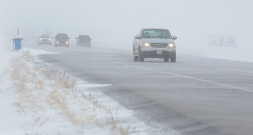 Brandon Sun Snow drifts across Highway 10, near the community of Forrest, Man., on Sunday afternoon. A snowfall watch was issued for areas north of the Trans-Canada Highway with winds picking up on Monday possibly creating blizzard-like conditions. (Bruce Bumstead/Brandon Sun)
