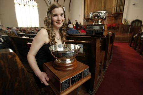 March 17, 2013 - 130317  -  Anne-Marie MacIntosh, winner of the Winnipeg Music Festival Rose Bowl, poses with her trophies in between performances at the Westminster United Church Sunday, March 17, 2013. John Woods / Winnipeg Free Press