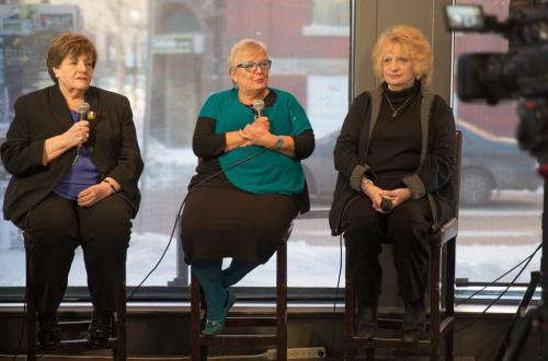 Mothers who lost their daughters to violent crime discuss their advocacy for victims at the Winnipeg Free Press News Caf¾©. From left Priscilla de Villiers, Lesley Parrott and Wilma Derksen/ (Melissa Tait / Winnipeg Free Press)