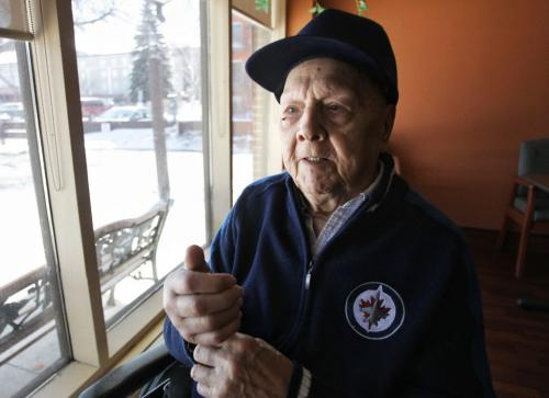 93-year-old Ernest Chenier in his room at the Golden Door Nursing Home was dumped out of his whellechair last week by a careless Handi-Transit driver. Fortunately, he only suffered cuts and bruises. He was patched up by the nurse at his personal care home. The WWII vet and his family are wondering why Handi-Transit hasn't responded to their complaint or called to see how he's doing. 130416 April 16, 2013 Mike Deal / Winnipeg Free Press