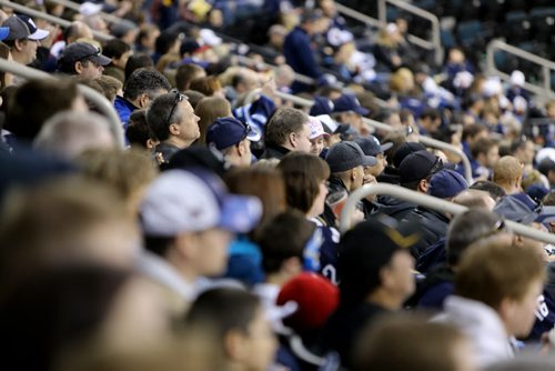 About 3000 fans from the ticket waiting list were treated to an open Winnipeg Jets' practice at MTS Centre in Winnipeg, Sunday, April 14, 2013. (TREVOR HAGAN/WINNIPEG FREE PRESS)