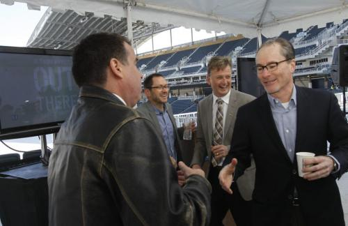 From left, Ian Low, Executive¤ Vice President, LiveNation Canada, Kevin Donnelly, Senior Vice President, True North Sports & Entertainment, Garth Buchko, President and Chief Executive Officer, Winnipeg Blue Bombers, and Jim Ludlow, pres and CEO of True North Sports and Entertainment after the Paul McCartney concert announcement in the Investors Group Field  for Aug. 12 . Wayne Glowacki/Winnipeg Free Press April 22 2013