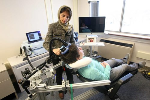 Dr Zahra Moussavi shows Repetitive Transcranial Magnetic Stimulus machine used to help patients with early stages of Alzheimer's disease–See Shamona Harnett story -April 23, 2013   (JOE BRYKSA / WINNIPEG FREE PRESS)