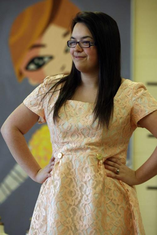"""Kids from Murdoch MacKay Collegiate Fashion Technology and Design are preparing for their """" Now in Full Colour"""" fashion show- Peach Lace Dress- student Rebecca Rivers–See Connie Tamoto fashion story -April 23, 2013   (JOE BRYKSA / WINNIPEG FREE PRESS)"""