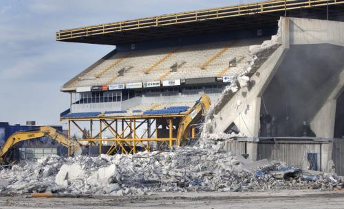 The demolition continues Monday morning as the Canad Inns Stadium slowly disappears from the Polo Park site. The intention is to reuse all the steel and grind as much concrete as possible into new construction materials. The northwest quadrant of the development, called the Plaza at Polo Park, is slated to house Winnipeg's first stand-alone Target store. April 29 2013 Wayne Glowacki Winnipeg Free Press