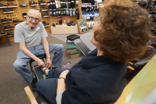 Len Harris is Winnipeg's oldest shoe salesman. Hell, he may be the world's oldest salesman. The Canadian Footwear clerk turns 90 this year. He's cut back his hours to just three days a week. –See Lindor Reynold's story- May 01, 2013   (JOE BRYKSA / WINNIPEG FREE PRESS)
