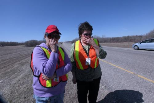 Frances Johnson (red hat)  and her sister Pauline Blair react with tears of joy after hearing from an RCMP Officer that their grand nephew, 3 year old Nathaniel Daily was found next to number one highway 3 miles from his home, 12 hours after he went missing from his home in a small town of Sidney.  One of the sister's had been up all night looking for him. See Story.  Photography Ruth Bonneville Ruth Bonneville /  Winnipeg Free Press)
