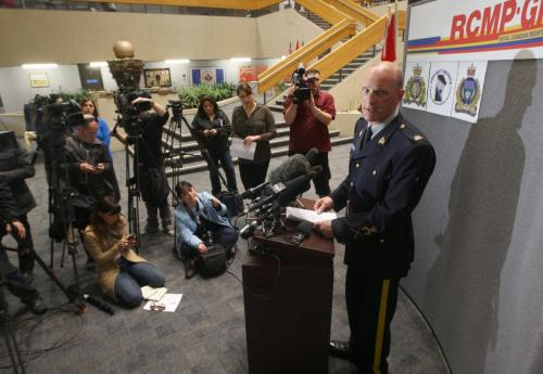 RCMP Cpl. Miles Hiebert briefs media at D division headquarters in Winnipeg on Project Devote Investigation that saw RCMP and City of Winnipeg Police Services members serve a search warrant in the 100 block of Lorne Ave where investigators found the remains of 36 year old Myrna Letandre- the death is now being treated as a homicide -See Mike McIntyre story- May 10, 2013   (JOE BRYKSA / WINNIPEG FREE PRESS)