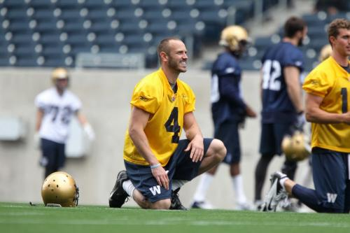 Blue Bomber quarterback #4 Buck Pierce practices with team at Investors Group Field Wednesday afternoon. See story. May 29, 2013 Ruth Bonneville Winnipeg Free Press